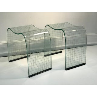 Late 20th Century Vittorio Livi Curved Glass Crystal Scroll Side Tables - a Pair Preview