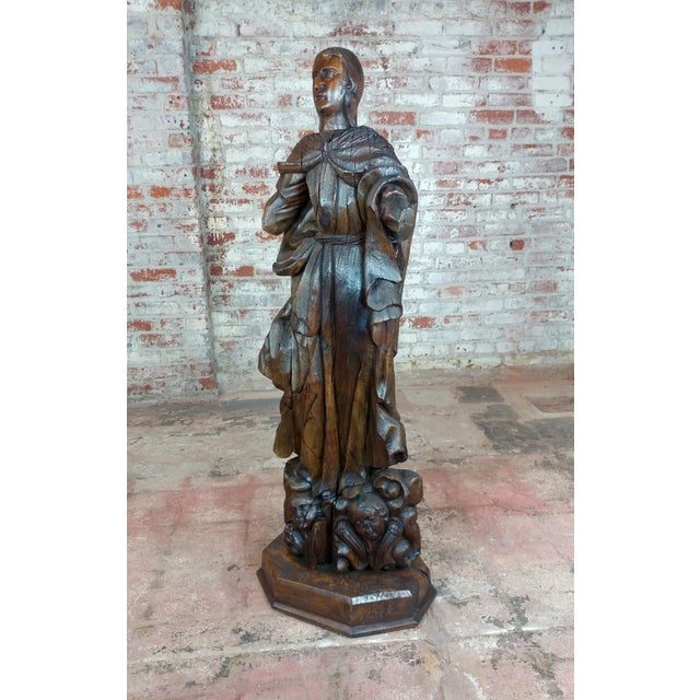 17th Century Antique French Carved Oak Santo Figure For Sale - Image 12 of 12