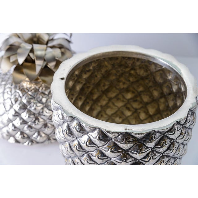 Hollywood Regency Fabulous Giant Pineapple Silver Box/Ice Bucket Portugal For Sale - Image 3 of 10
