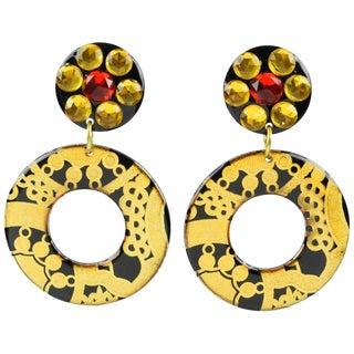 Italian Baroque Dangling Geometric Chandelier Lucite Clip-On Earrings Black Gold For Sale
