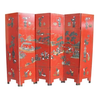 Antique Asian Red Lacquered 6 Panel Screen For Sale