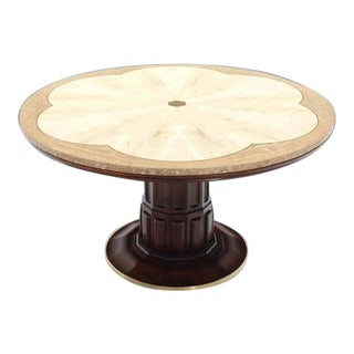 Mid-Century Modern Brass Inlay Marble Decorative Marble Top Round Game Table For Sale