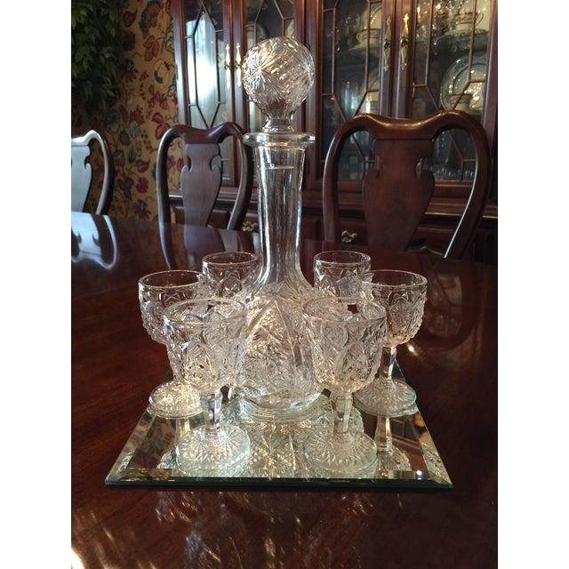 Vintage Pressed Glass Decanter With Goblets Wine Set For Sale In Philadelphia - Image 6 of 12