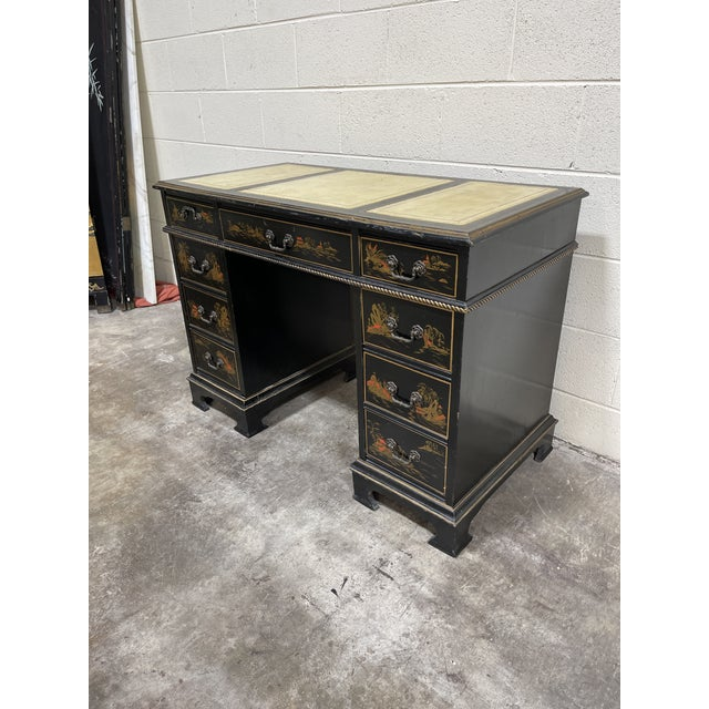This piece is not perfect, but if you love a little chippy patina, this ones for you. Black chippy paint with gold leaf...