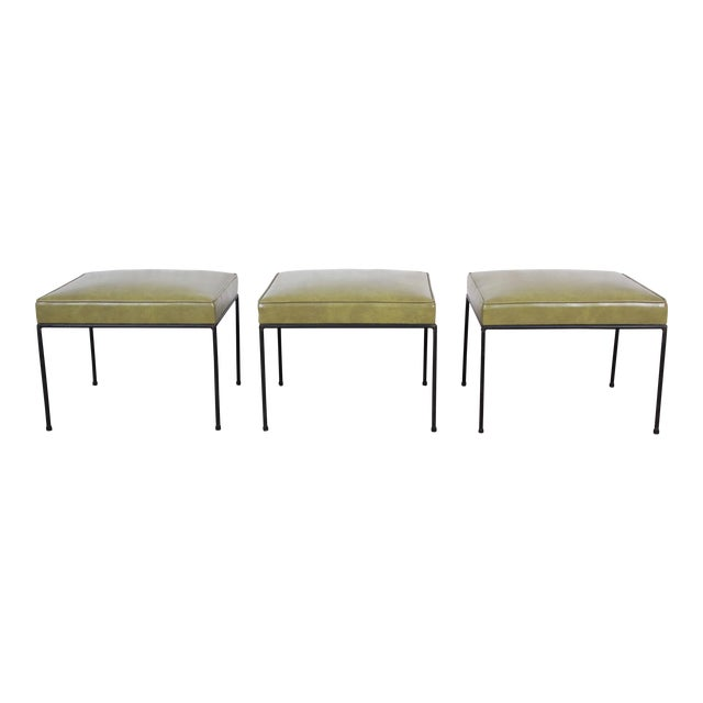Paul McCobb Upholstered Iron Stools or Ottomans, Set of Three For Sale