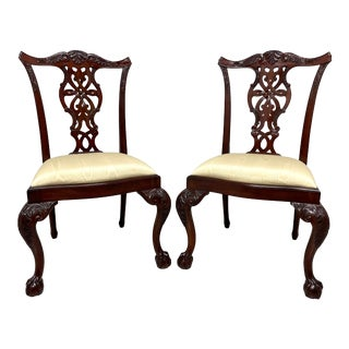 Maitland Smith Solid Mahogany Chippendale Ball in Claw Dining Side Chairs - Pair B For Sale