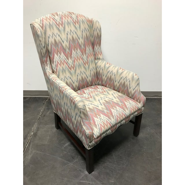 Mahogany Chippendale Flame Stitch Wing Chair For Sale - Image 10 of 10
