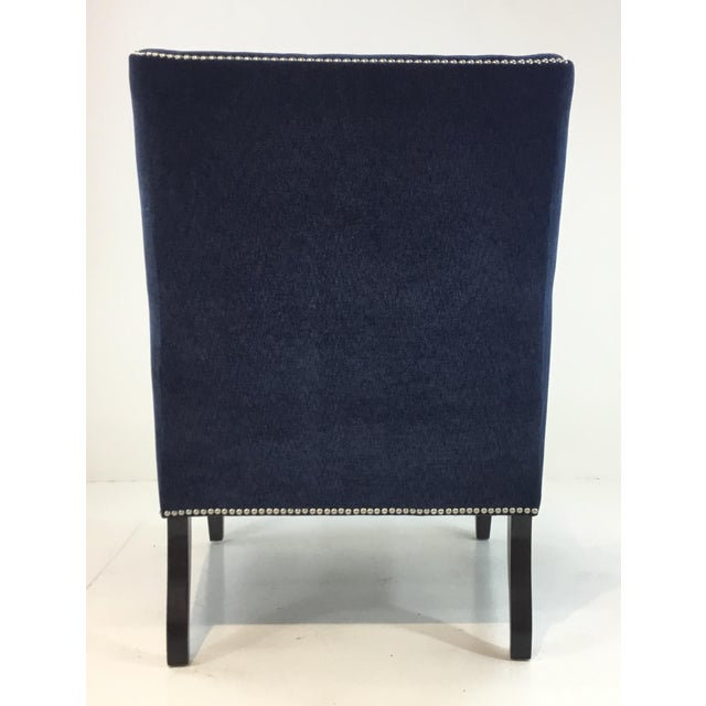 Thomasville Thomasville Blue Velvet Chandon Club Chair For Sale - Image 4 of 6