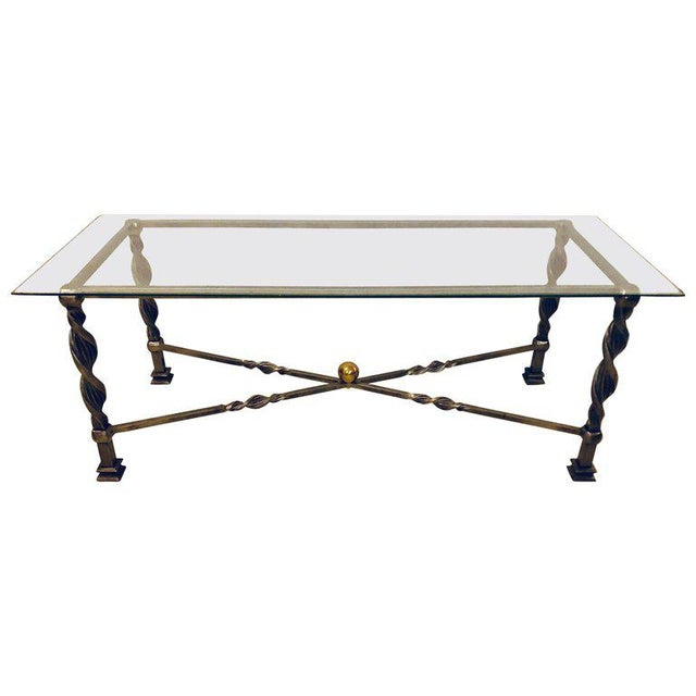 Metal Hollywood Regency Style Brass and Steel Glass Top Coffee Table Manner Jansen For Sale - Image 7 of 7