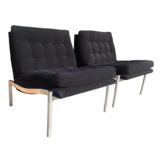 1960s Mid-Century Black Club Chairs - a Pair For Sale