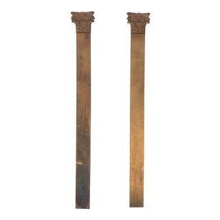 Gilt Wood Decorative Pilasters - a Pair For Sale