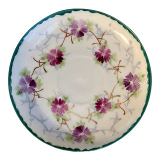 Early 20th Century Shabby Chic White Porcelain Plate With Pink and Purple Flowers For Sale