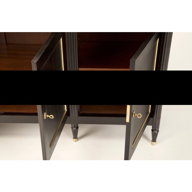 Mahogany French Louis XVI Style Buffet in an Ebonized Finish With a White Marble Top For Sale - Image 7 of 10