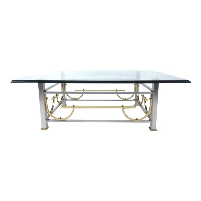 Mid-Century Modern Maison Jansen Style Chrome & Brass Coffee Table For Sale
