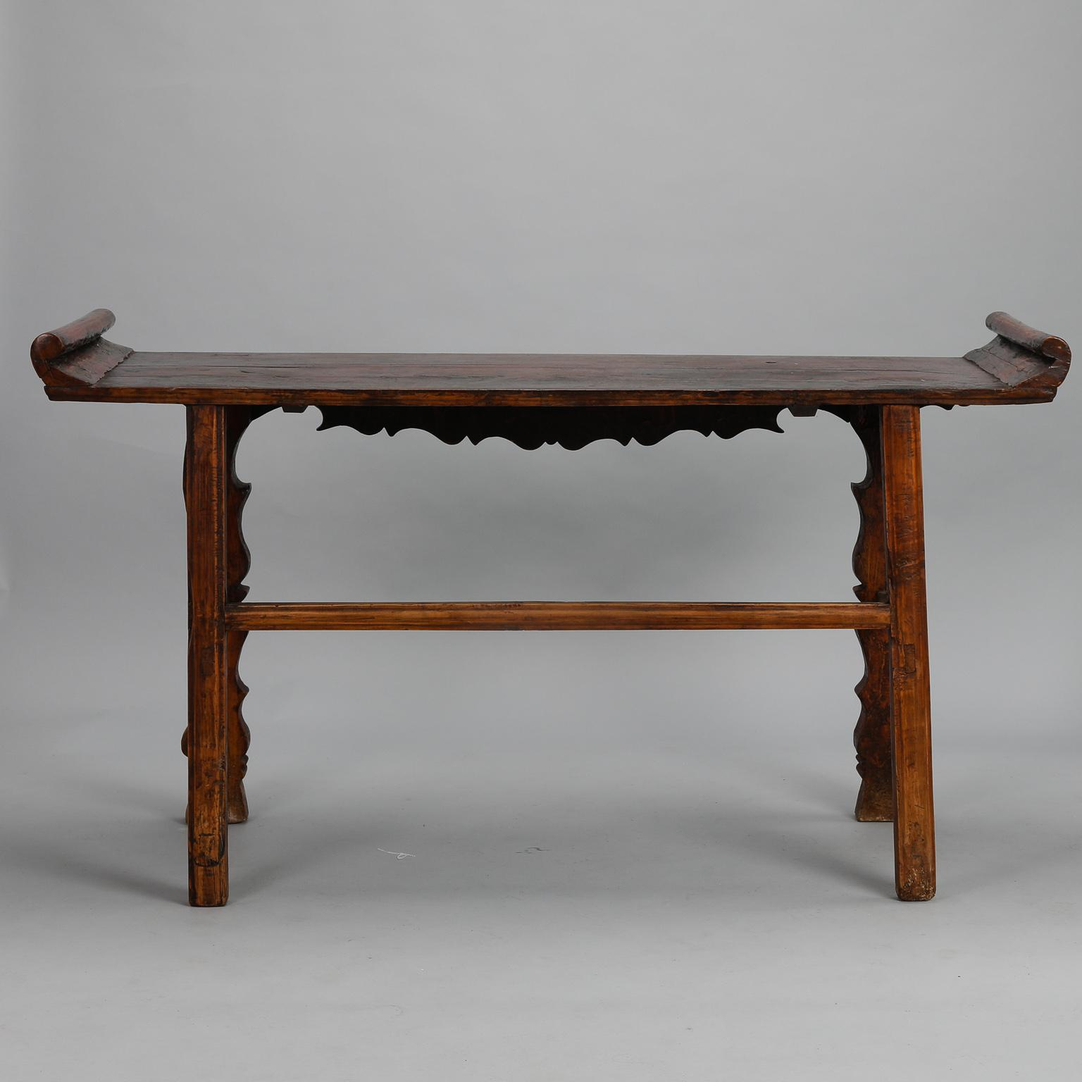 Carved Elm And Pine Chinese Altar Table With Original Red Paint   Image 5  Of 10