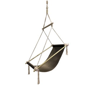 L & S Studio Ovis Hanging Leather Chair For Sale