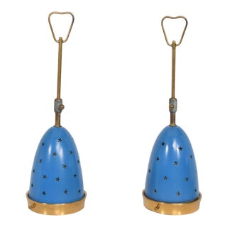 1950s Angelo Lelli Mid-Century Modern Blue Table Lamps for Arredoluce, Italy - a Pair For Sale