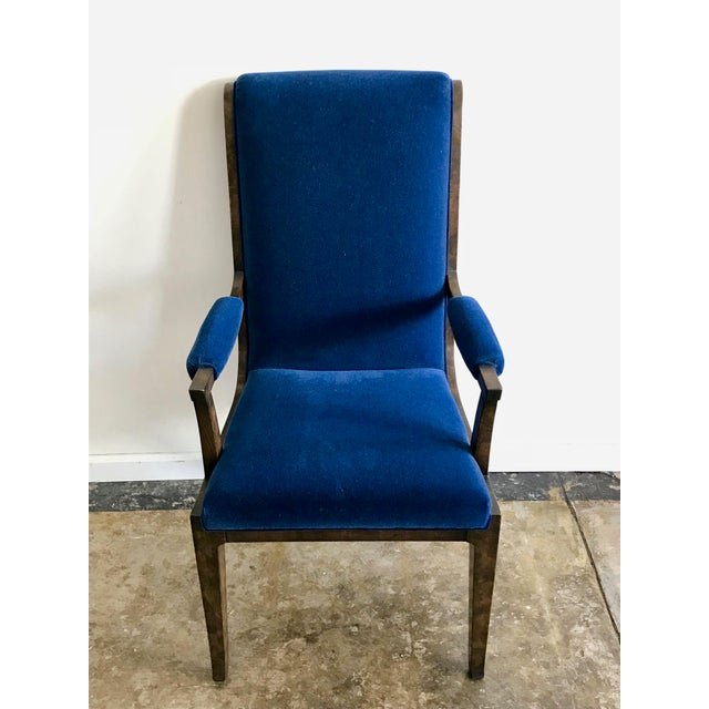 Mid 20th Century Mid-Century Modern Blue Velvet Dining Chairs - Set of 4 For Sale - Image 5 of 11