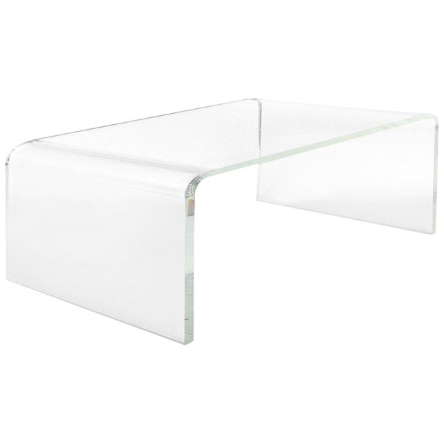 Custom Lucite Curved Sides Waterfall Table or Bench For Sale