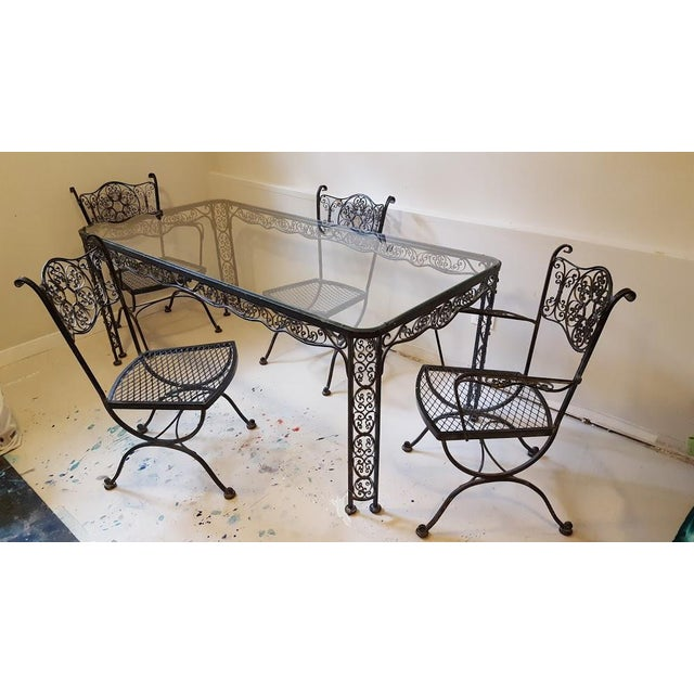 Dining Table + 2 Head Chairs + 2 Side Chairs Ornate Scroll Work See pics for condition- age and wear as shown: some rust /...
