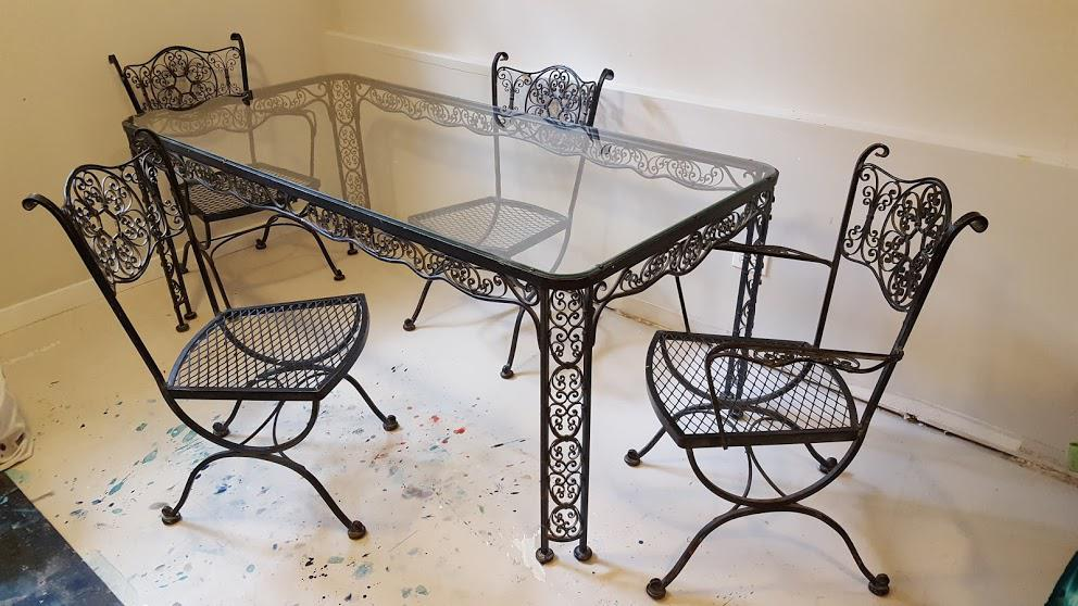 Lee L. Woodard U0026 Sons Mid Century Wrought Iron Dining Set  5 Pieces