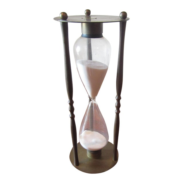 Mid-Century Modern Brass Hourglass Sand Timer For Sale