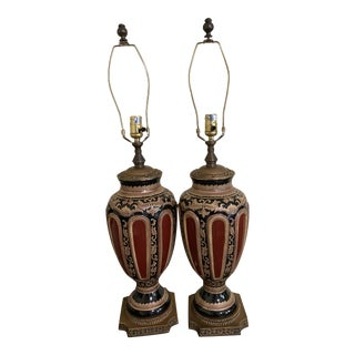 19th Century Style Empire French Oxblood Red Gilt Lamps - a Pair For Sale