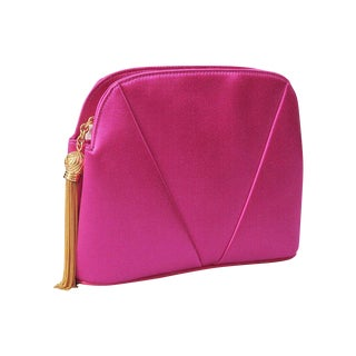 Valentino Hot Pink Satin Clutch For Sale