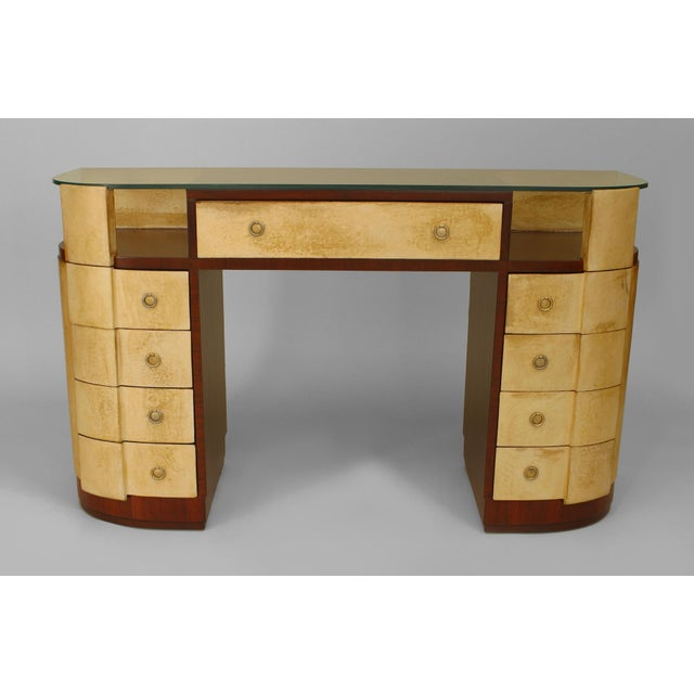 "French Art Deco Mahogany And Parchment Veneered ""D"" Shaped Dressing Table For Sale - Image 4 of 5"