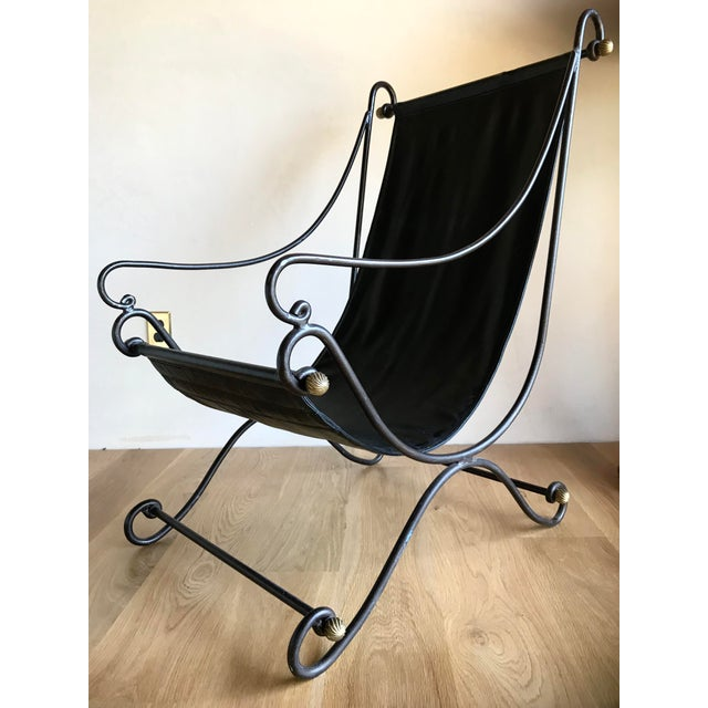 20th Century Maison Jansen Neoclassical Iron Brass Sling Lounge Chair Savonarola Janus Et Cie Style For Sale - Image 9 of 12