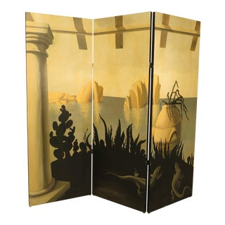 Hand Painted 3 Panel Folding Screen For Sale