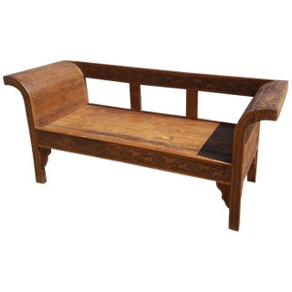 Moroccan Hand-Carved Cedar Wooden Bench