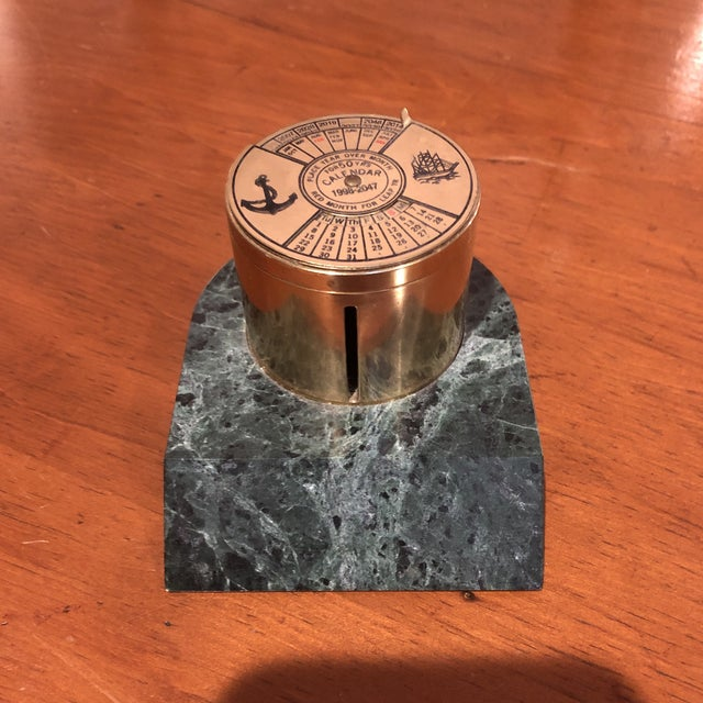 Brass and Marble 50 Year Perpetual Calendar and Stamp Box For Sale In Richmond - Image 6 of 6