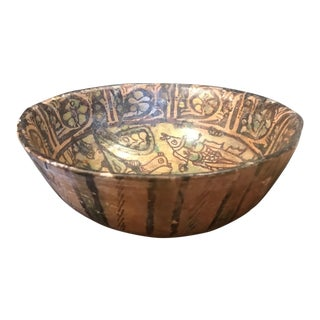 Ancient Persian Kashan Bowl, 13th Century Islamic Pottery Art For Sale