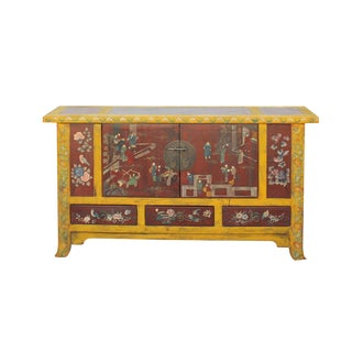 Chinese Distressed Yellow Rattan Scenery Graphic Console Table Cabinet For Sale