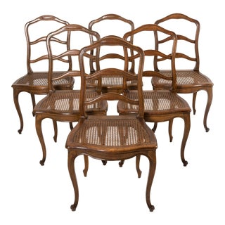 Set of Six Antique French Style Wood Dining Chairs With Cane Seats. For Sale
