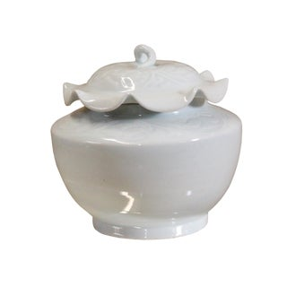 Handmade Oriental Off White Thin Porcelain Small Jar Container For Sale