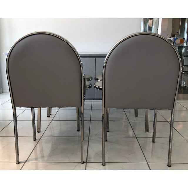 Art Deco Set of 6 Rougier Chrome Dining Chairs For Sale - Image 3 of 8