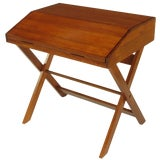 Image of Sorrel Ash-Flip Top Trestle Based Writing Table For Sale
