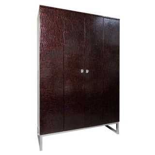 Art-Deco Inspired Contemporary Patent Leather Crocodile Print Cabinet With Suede For Sale
