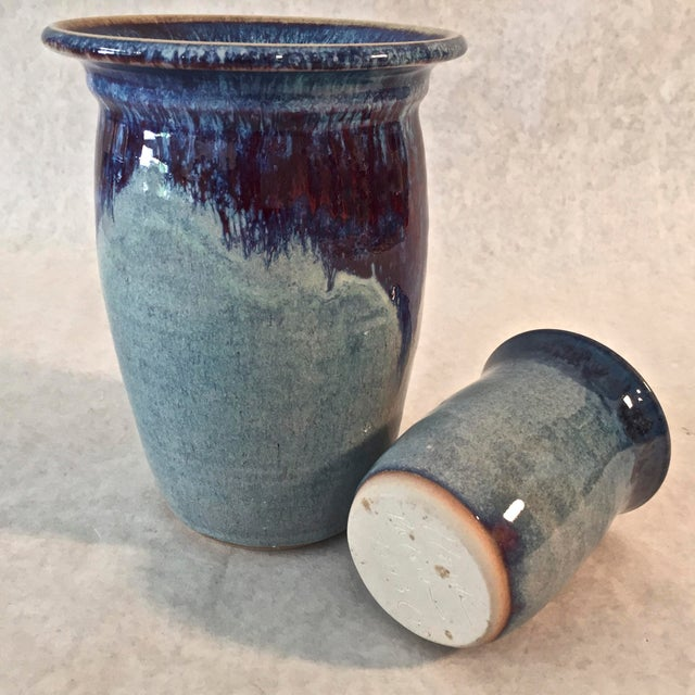 Contemporary Handmade Pottery Vases - A Pair For Sale - Image 4 of 6