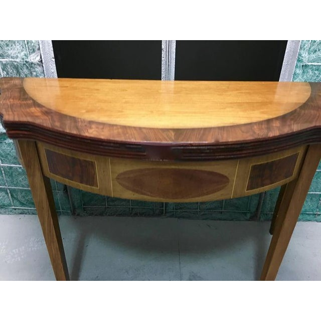 Demilune Inlay Mahogany Folding Checker Game Table For Sale In Los Angeles - Image 6 of 7