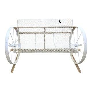 Custom Rustic White Iron Wagon Wheel Bench