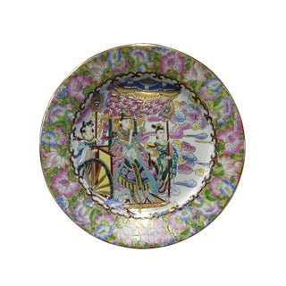 Chinese Porcelain Canton Color Heaven Queen Traveling Scene Painting Plate For Sale