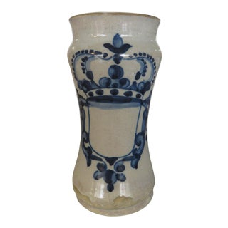 Antique Spanish Distressed Ceramic Apothecary Jar, 18th Century For Sale