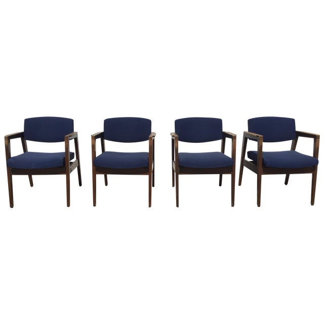 Vintage Navy Modern Chairs - Set of 4 - Image 1 of 11