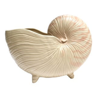 1970s Ceramic Nautilus Shell Planter