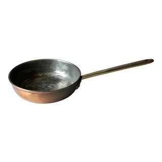 Vintage 1970s Copper Saute Pan With Riveted Brass Handle For Sale