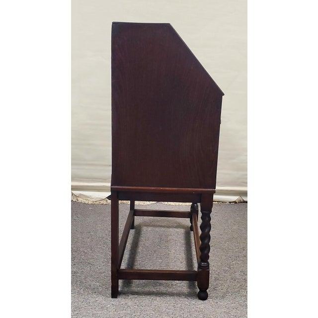 English Antique England Oak Barley Twist Drop Front Secretary Desk For Sale - Image 3 of 11