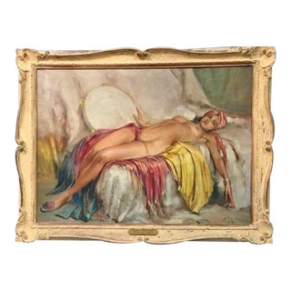 """1930s """"Nude With Tambourine"""" Original Oil Painting on Canvas by Durando Togo Richard For Sale"""